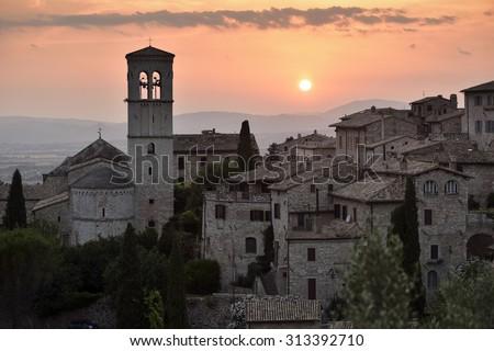 Assisi at sunset, Umbria - Italy, Europe - stock photo