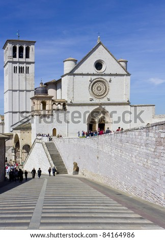ASSISI, ITALY- APRIL 6:Basilica of San Francesco on April 6, 2011 in Assisi, Italy.The church was built in the western parts of Assisi on a hill known as Hill of Paradise in honor of the local saint - stock photo