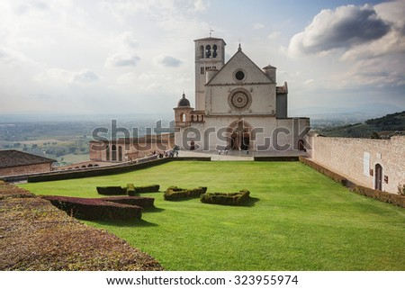 Assisi, Italy: Basilica of Saint Francis (Basilica di San Francesco)  - stock photo