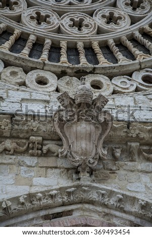 Assisi (Italy) Church/Basilica of St Francis (San Francesco): detail of front - stock photo