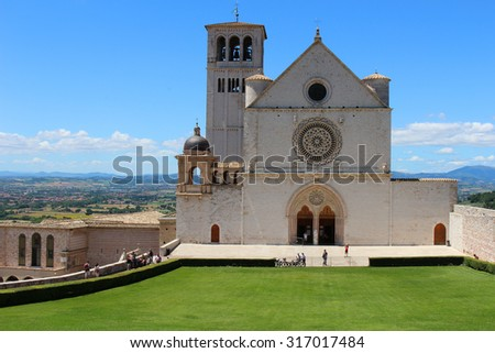 ASSISI, ITALY - JUNE 24,2015: Basilica di San Francesco on top of the hill in Assisi, Italy - stock photo