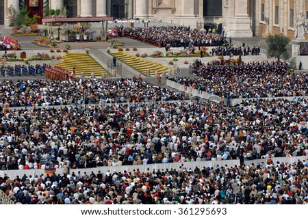 ASSISI, ITALY - JUNE 17, 2007 - Pope Benedict XVI celebrates the holy Mass in the courtyard below Assisi's St. Francis Basilica, central Italy.
