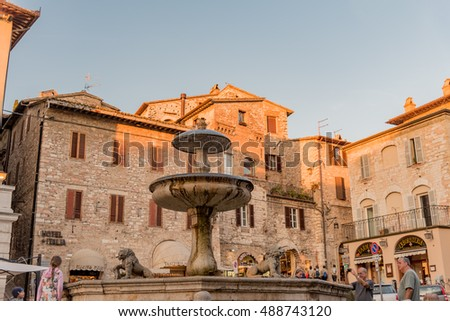 ASSISI, ITALY - SEPTEMBER 24, 2016 - Historic town of Assisi in beautiful morning light, Umbria, Italy