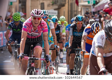 ASSISI, PERUGIA, ITALY - MAY 15: Ryder Hesjedal, Team Garmin, leader of general ranking of the competition, at the end of the 10th stage of 2012 Giro d'Italia on May 15, 2012 in Assisi, Perugia, Italy
