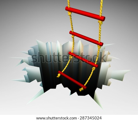 Assist concept illustration, rope ladder leading to the deep cracked hole - stock photo