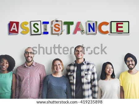 Assistance Aid Help Charity Word Design Concept - stock photo