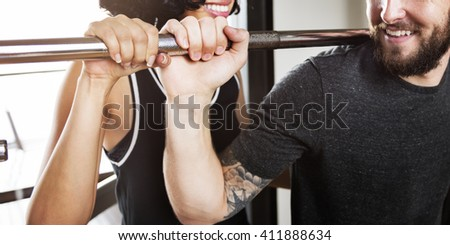 Assistance Bodybuilding Gym Workout Training Concept - stock photo