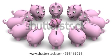 Assistance in financial matters. Financial advice. The large piggy banks are located around the small. The concept of financial assistance, counseling. Financial concept. 3D illustration. Isolated - stock photo
