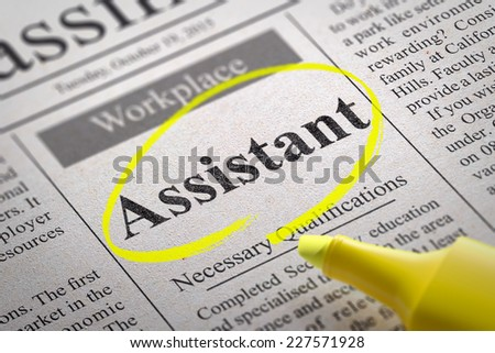 Assistant Jobs in Newspaper. Job Search Concept. - stock photo