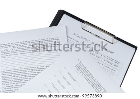 associate aggrement form on isolated white background form - stock photo
