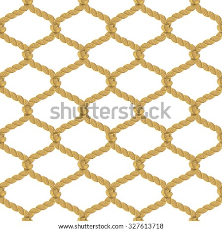Associated twisted ropes net with rhombic cell realistic color decorative seamless pattern  illustration