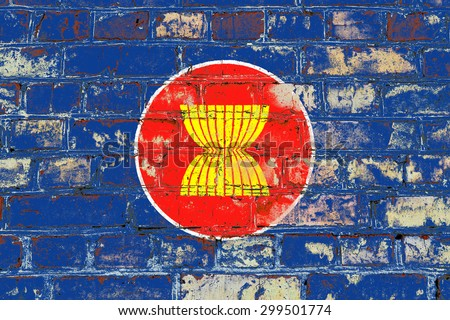 Association of SouthEast Asian Nations flag painted on old brick wall texture background - stock photo