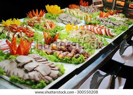 Assorted appetizers at the restaurant - stock photo