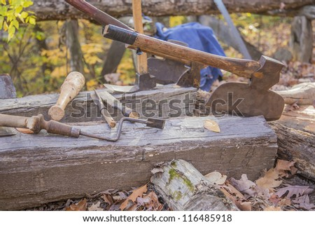 assorted axes in logs