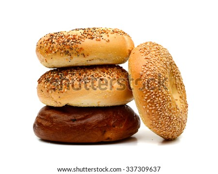 assorted bagels on white background