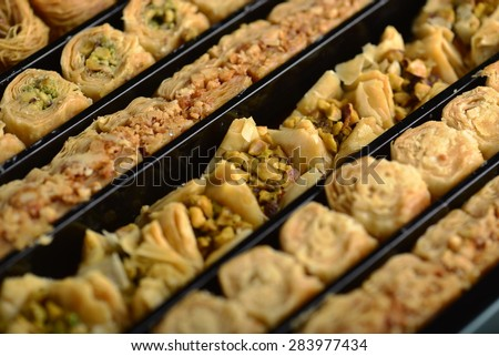 Assorted baklawa in a gift box - stock photo