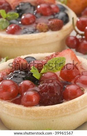 Assorted berries pie.Red fruits dessert.close-up.Selective focus.
