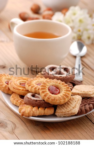 Assorted biscuits on the table for breakfast - stock photo