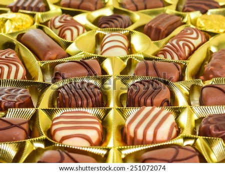 assorted box of chocolate - stock photo