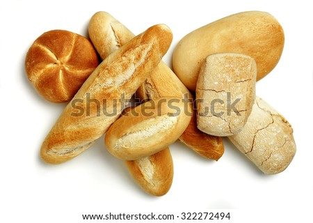 assorted breads isolated - stock photo