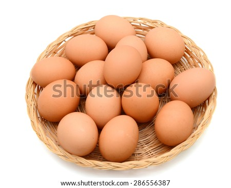 Assorted brown eggs on basket, isolated white