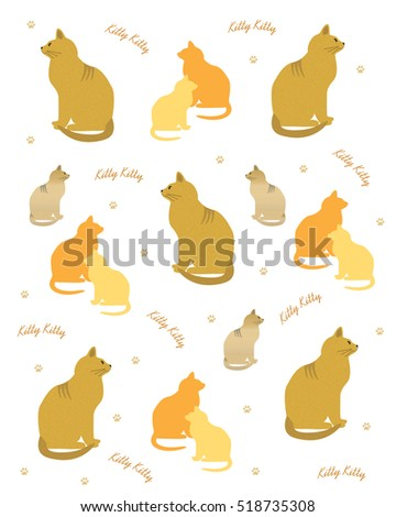 assorted cats scattered on white background illustration