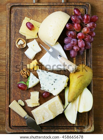 Assorted cheese board with different kinds of cheese