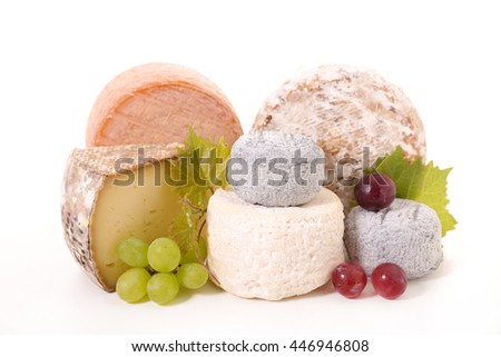 assorted cheese isolated on white - stock photo