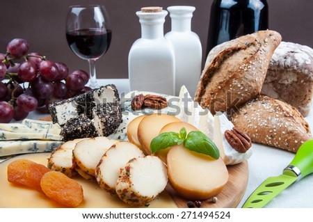 Assorted cheese on table