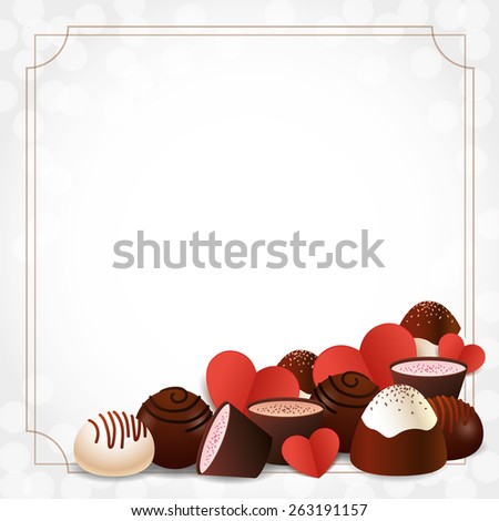 Assorted chocolate candies and red paper hearts on bokeh background with frame