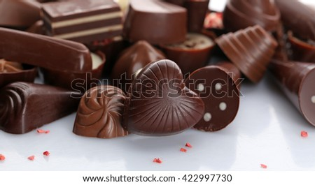 Assorted chocolate candies, close up - stock photo