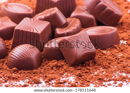 Assorted Chocolate pralines - stock photo