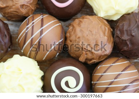 Assorted chocolates and pralines, close up