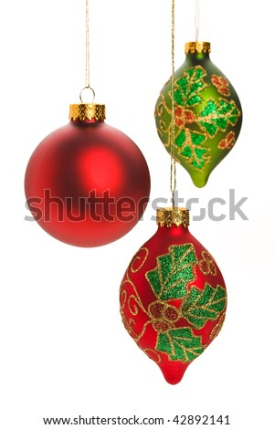 Assorted Christmas ornaments on white background