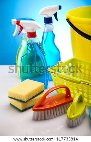 Assorted cleaning products - stock photo