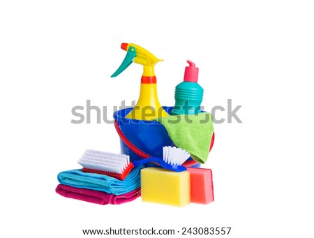 Assorted cleaning products isolated on white background