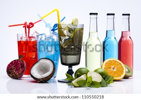 Assorted cocktails, alcohol drinks - stock photo