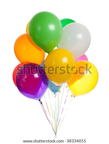 Assorted colored balloons on a white background