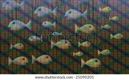 Assorted colored fish swimming back and forth caught in net