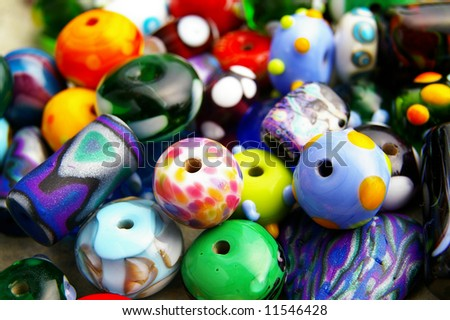 Assorted colorful beads, closeup - stock photo