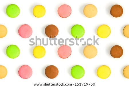 assorted colorful french macarons isolated on white background. seamless pattern - stock photo