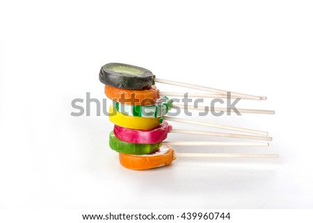 Assorted colorful lollipops - stock photo