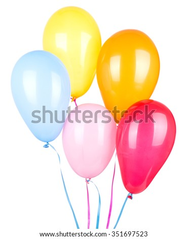 Assorted colors of birthday balloons isolated on white