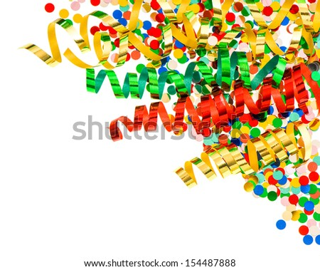 assorted confetti with shiny colorful streamer on white background. party decoration - stock photo