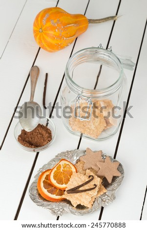 Assorted Cookies and Citrus Fruit Chips - stock photo