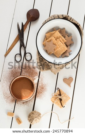Assorted Cookies and Hot Cocoa - stock photo