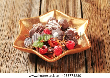 Assorted cookies with chocolate icing - stock photo