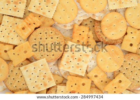 assorted cracker background - stock photo