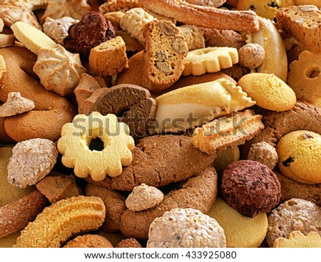 Assorted crunchy fresh biscuits for teatime or dessert