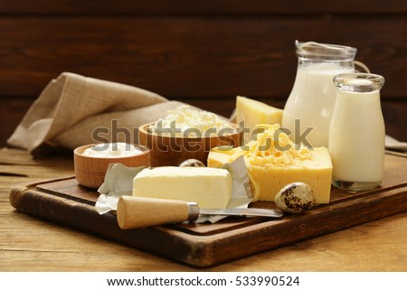 Assorted dairy products (milk, yogurt, cottage cheese, sour cream) rustic still life.